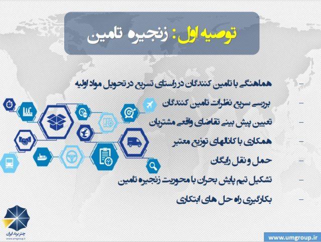توصیه هایی برای کسب و کارها و سازمانها برای گذر از کرونا www.umgroup.ir زنجیره تامین