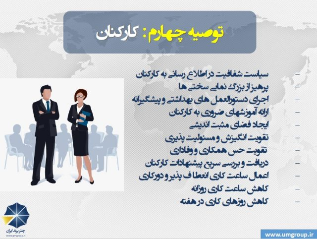توصیه هایی برای کسب و کارها و سازمانها برای گذر از کرونا www.umgroup.ir کارکنان